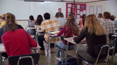 High school Spanish class, seen from back of classroom - stock footage