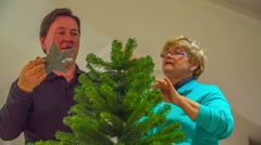 Grandparents are putting a Christmas star on the top of a tree Stock Footage