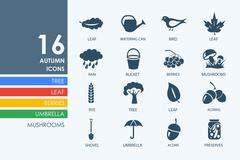 Set of autumn icons Stock Illustration