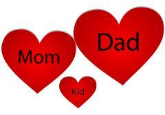 Family of three hearts Stock Illustration