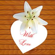 White heart with lily Stock Illustration