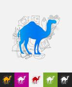 Camel paper sticker with hand drawn elements Piirros