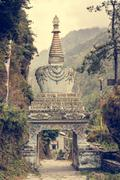 Colorful ornate buddhist stupa. - stock photo
