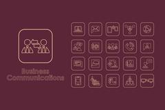 Set of business communications simple icons Stock Illustration