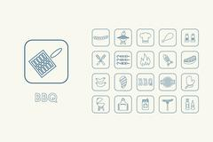 Stock Illustration of Set of BBQ simple icons
