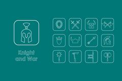 Stock Illustration of Set of knight and war simple icons