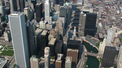 Flying over Chicago near Michigan Avenue Bridge Stock Footage