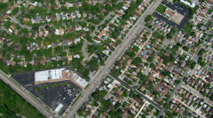 High aerial view of suburban rooftops in Chicago - stock footage