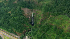 Aerial view of Multnomah Falls in Oregon Stock Footage