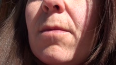 Mouth and nose of woman in her 40th  Stock Footage