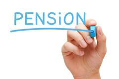 Pension Blue Marker Stock Photos