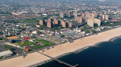 Flight over Coney Island in Brooklyn, New York. Shot in 2003. Stock Footage