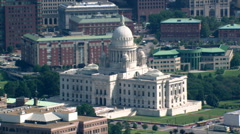 Aerial view of capitol building and downtown Providence, Rhode Island - stock footage