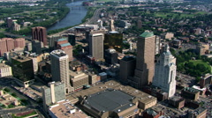 Slow flight over downtown Hartford, CT Stock Footage