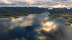 Evening on Vesteralen in Norway, aerial footage Stock Footage
