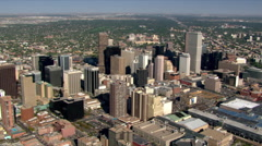 Mid-level flight above downtown Denver, Colorado. Shot in 2003. Stock Footage