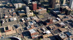 Flying over business district of Denver, Colorado. Shot in 2003. Stock Footage