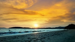 Amazing sunset at the Ao Nang beach, Krabi, Thailand. Stock Footage