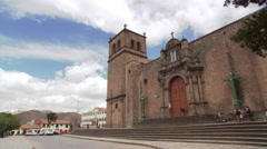 Church of San Francisco in Cusco, Peru; people passing - stock footage