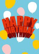 Happy birthday. Festive balloons. Poster for holiday. Greeting cards for birt Piirros