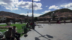 People in the Plaza de Armas in Cusco, Peru Stock Footage