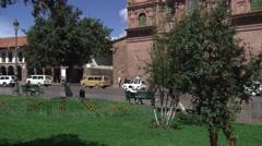 Left pan of Church of La Compania in Cusco, Peru Stock Footage