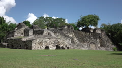 Costa Maya Kuhunlich Mayan ruins repair on temple HD 020 Stock Footage