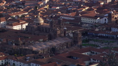 Zoom-out from Cathedral towers to cityscape of Cusco, Peru - stock footage