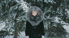 Woman Playing With Snow  Stock Footage