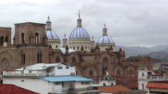 New Cathedral and rooftops at Cuenca, Ecuador Stock Footage
