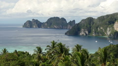 Stock Video Footage of View of beautiful Koh Phi Phi Don island from Phi Phi Viewpoint