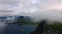 In the clouds over the Lofoten peaks, Norway Stock Footage