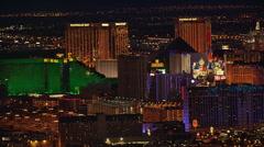Night flight over casinos along Las Vegas Strip Stock Footage