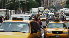 Traffic jam at 34th and Broadway, NYC Stock Footage