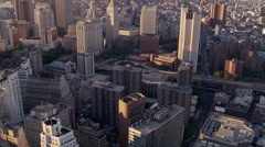 Flying toward Foley Square and Civic Center in New York City - stock footage