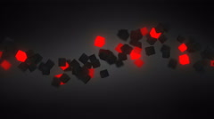 glowing red 3D cubes wave loopable background 4k (4096x2304) - stock footage