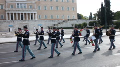 Military music band in Syntagma square - stock footage