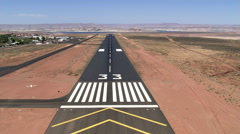 Cockpit view, landing at Page Municipal Airport in Arizona Stock Footage