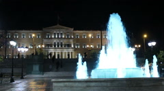 Platia Syntagma fountain night - stock footage