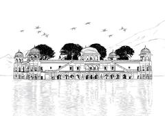 Palace in Water - Jal Mahal, Rajasthan, India Vector Illustration - stock illustration