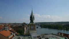 View to the Staromestska vodarna in center of Prague Stock Footage