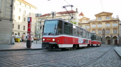 Prague City centre with urban Red Tram in Prague, Czech Republic Stock Footage
