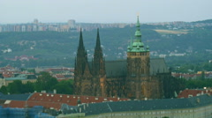 View to the St. Vitus Cathedral in Prazsky Hrad Prague Castle - stock footage