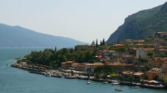 Beautiful view to the Limone Sul Garda and Lago di Garda lake - stock footage
