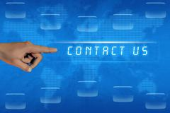 Hand pushing contact us button Stock Illustration