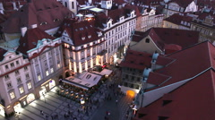 Stock Video Footage of Prague night timelapse from above