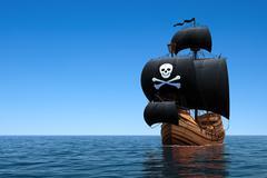 Pirate Ship In Blue Ocean Stock Photos