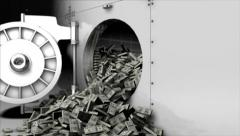 Money Pouring Out of Vault Safe Stock Footage