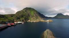 Fishing port Mortsund on Lofoten islands in Norway Stock Footage