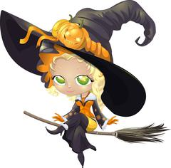 pretty witch on a broom - stock illustration